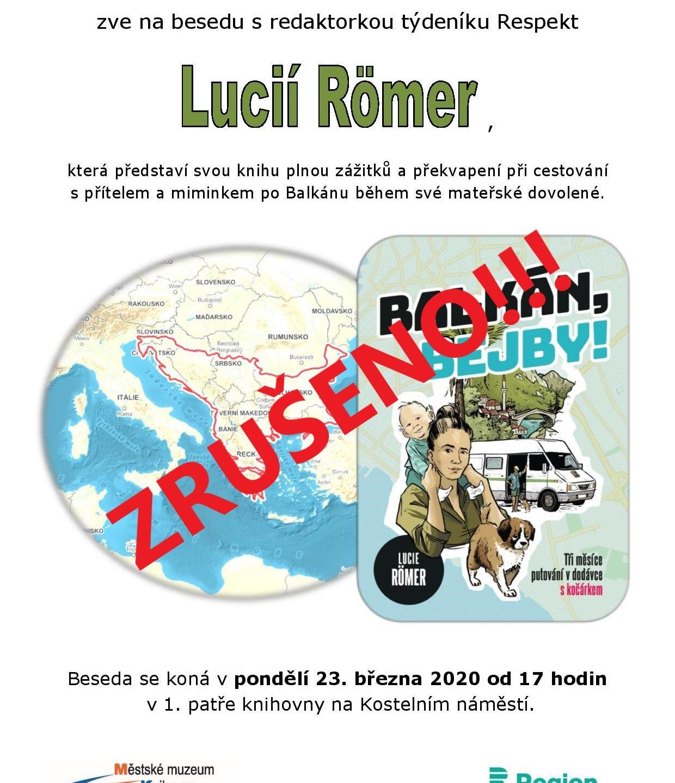 """Beseda s Lucii Römer """"BALKÁN, BEJBY!"""" 23.3.2020"""